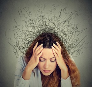 woman with stringy thoughts coming out of head